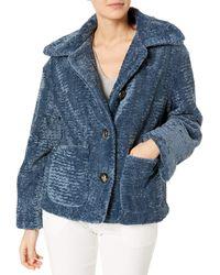 Vince Camuto Faux Fur Button Down Jacket - Blue