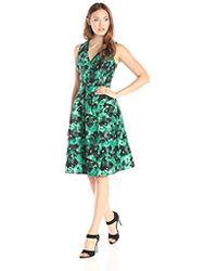 Kasper - Vneck Faux Wrap Printed Shantung Inverted Pleat Dress - Lyst