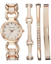 Anne Klein - Ak/1952rgst Swarovski Crystal Accented Rose Gold-tone And Blush Pink Watch And Bracelet Set - Lyst