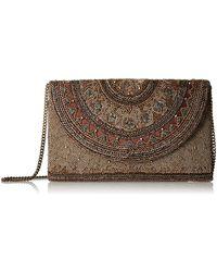 Mary Frances Kismet Bronze Beaded Rounded Flap Crossbody Envelope Clutch Handbag - Brown
