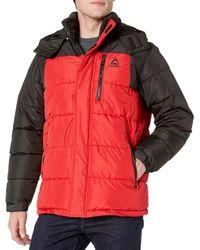 Reebok Heavy Weight Hooded Bubble Jacket - Red