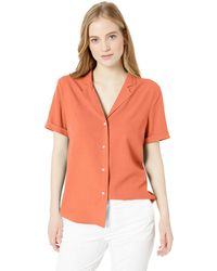 28 Palms - Loose-fit 100% Silk Solid Blouse Shirt - Lyst