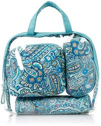 Vera Bradley 4 Piece Cosmetic Makeup Organizer Bag Set - Blue