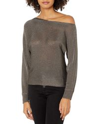 Guess Long Sleeve Catrina Off The Shoulder Lurex Cord Sweater - Gray