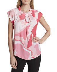Tahari - Printed Pleated-front Blouse - Lyst