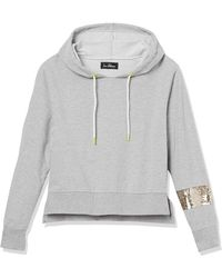 Sam Edelman Cropped Hoodie With Sequin Band - Gray