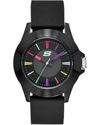 Skechers Quartz Metal And Silicone Casual Watch - Black
