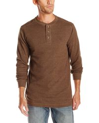 Wolverine Big Walden Long Sleeve Blended Thermal 3 Button Henley Shirt - Brown
