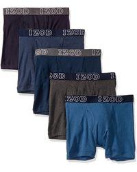 Izod 5 Pack Cotton Boxer Brief - Blue