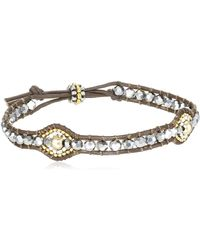 Miguel Ases Pyrite Beaded Double Oval Brown Leather Slip-knot Bracelet - Metallic