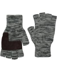 Levi's Heathered Knit Fingerless Gloves,two Toned Grey,one Size - Gray