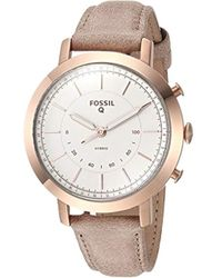 Fossil - Neely Stainless Steel And Leather Hybrid Smartwatch, Color: Rose Gold, Beige (model: Ftw5007) - Lyst