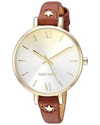 Nine West - Nw/2124chlu Gold-tone And Brown Strap Watch - Lyst