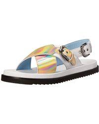 Studio Pollini - Metallic Flat Dress Sandal - Lyst