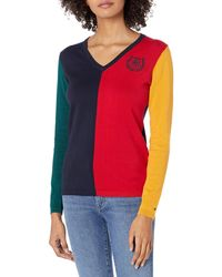 Tommy Hilfiger Classic Fit Lightweight V-neck Sweater - Red