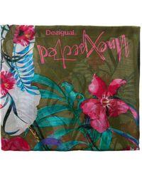 Desigual Gardenette Rectangle Flower Print Foulard Scarf Fashion - Green