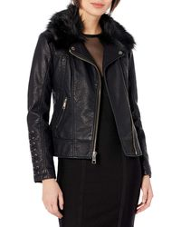 Guess Leather Moto Jacket With Removable Faux Fur Trim - Black