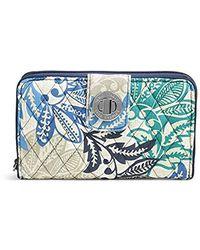 Vera Bradley Rfid Turnlock Wallet-signature - Blue