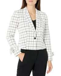 Nine West 1 Button Notch Collar Plaid Cropped Jacket With Wrist Ties & Front Pocket - Multicolor