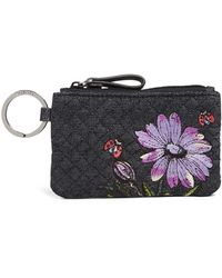 Vera Bradley Lady Bug Floral Iconic Quilted Zip Id Case - Blue