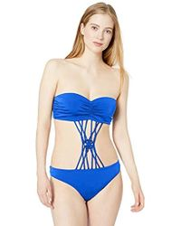 Freya Macramé String And Knot Bandeau Monokini With Underwire - Blue