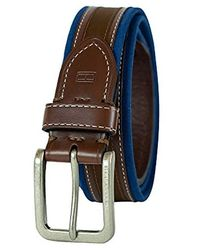 Tommy Hilfiger Ribbon Inlay Belt - Fabric Belt With Single Prong Buckle - Blue