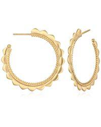 Satya Jewelry Gold Petal Hoop Earrings - Metallic