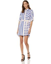 MILLY Washed Linen Striped Button Down Casual Shirtdress - Blue