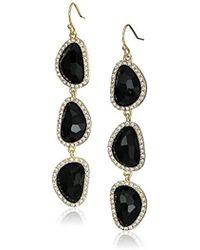 T Tahari - Triple Faceted Stone Fish Hook Drop Earrings - Lyst