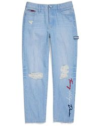 Tommy Hilfiger Adaptive Boyfriend Jeans With Adjustable Waist And Magnet Buttons - Blue
