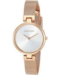 Calvin Klein Stainless Steel Swiss Quartz Watch With Rose Gold Strap - Metallic
