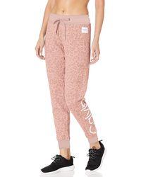 Calvin Klein Texture Leopard Print Calvin Logo Jogger Sweatpants, Cameo Combo, Xl - Pink