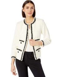 Anne Klein Fringe Tweed Jacket - White