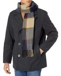 Tommy Hilfiger Classic Wool Blend Double Breasted Peacoat - Gray