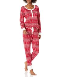 Tommy Hilfiger Thermal Long Sleeve Ski Pajama Set Pj - Red