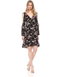 Kensie Floral Cranes Dress - Black