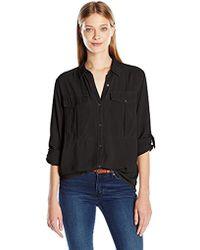 Calvin Klein Long Sleeve Utility Shirt - Black