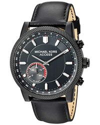 a3e098ef50dd Michael Kors - Access  hutton Hybrid Smartwatch  Quartz Stainless Steel And  Leather Casual Watch