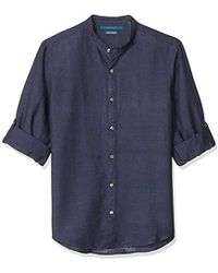 Perry Ellis - Solid Linen Cotton Rolled Sleeve Banded Collar Shirt - Lyst