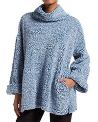 Kendall + Kylie Marled Cowl Neck Bed Jacket - Blue