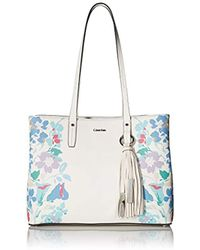 Calvin Klein - Maggie Printed Saffiano East/west Tote - Lyst