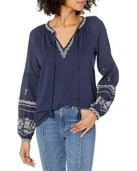 Lucky Brand Long Sleeve Embroidered Peasant Top - Blue