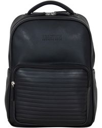 """Kenneth Cole On Track Pack Vegan Leather 15.6"""" Double Compartment Laptop Backpack With Rfid - Black"""
