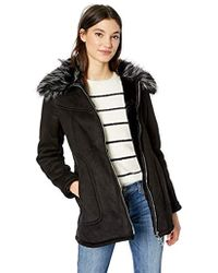 Jessica Simpson Faux Shearling Fashion Coat - Black