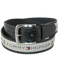 Tommy Hilfiger Ribbon Inlay Belt - Ribbon Fabric Design With Single Prong Buckle - Black
