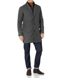 Dockers Big & Tall Henry Wool Blend Top Coat - Gray
