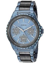 fd25bbc380d8 Guess - U0847l1 Sporty Blue Stainless Steel Watch With Multi-function Dial  And Blue Pilot