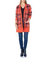 Lucky Brand Buffalo Check Cardigan Sweater - Red