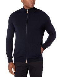Buttoned Down Italian Merino Wool Full-zip - Blue