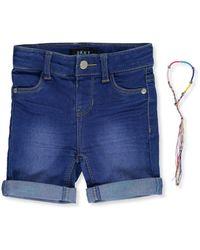 DKNY Girls Rip and Repair Cuffed Denim Short